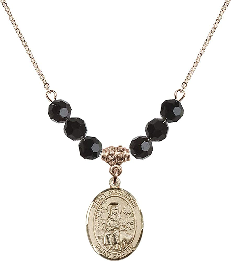 Bonyak Jewelry 18 Inch Hamilton Gold Plated Necklace w// 6mm Jet Birth Month Stone Beads and Saint Germaine Cousin