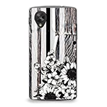 Case for Nexus 5, CasesByLorraine Vintage Striped Floral Wood Print B&W Case Plastic Hard Cover for LG Google Nexus 5 (S05)