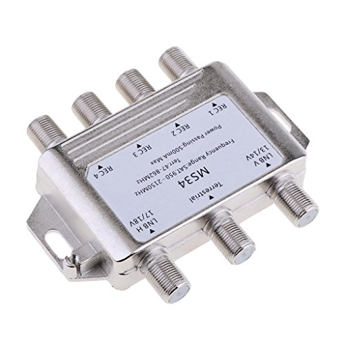 Baoblaze Satellite Switch Max 4 Output Multi Switch MS34 Silver for connecting DirecTV satellite dishes to up to 4 receivers