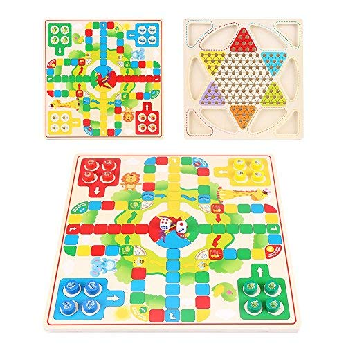 GLOGLOW Wooden Game Set Aeroplane Chess Chinese Checkers Two-in-one Board Toy Early Childhood Education Puzzle Chess Parent-Child Interaction Play [並行輸入品] B07SB3Y999