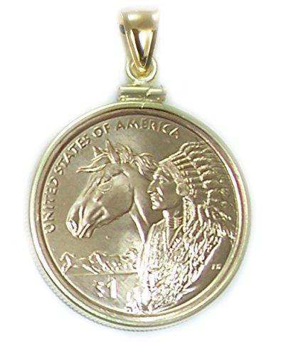 Dollar Gold Coin Pendant (Sacagawea Golden Dollar Horse 14k Gold Filled Coin Bezel Coin Pendant (COIN EDGE))