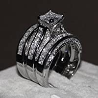 Wensltd Clearance! 3-in-1 Womens Vintage White Diamond Silver Engagement Wedding Band Ring Set
