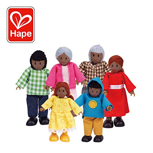 Hape African American Wooden Doll House Family ()