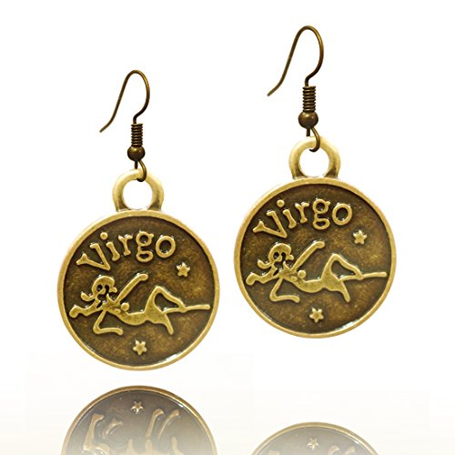 Chinese Zodiac Virgo - Stay Calm VIRGO Zodiac Sign Astrology Horoscope Hook Earrings Birthday Gift - All 12 Sun Signs Available (Virgo)