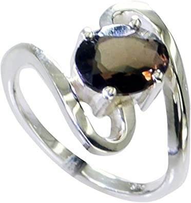 Gemsonclick Natural Sterling Silver Black Onyx Ring Oval Stone Prong Style Handmade Size 5,6,7,8,9,10,11