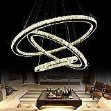 Chandelier Modern White Crystal Hanging Lights Lighting Fixture Flush Mount LED Ceiling Light Pendant Lamp for Dining Room Bedroom Livingroom Kitchen (30 50 70 Warm)