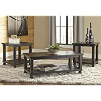 Mallacar Black Color Occasional Table Set , Cocktail Table And Two End Tables