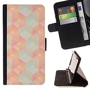 For Apple iPhone 5C Case , Patrón 3D Polígono Peach Pink Teal- la tarjeta de Crédito Slots PU Funda de cuero Monedero caso cubierta de piel