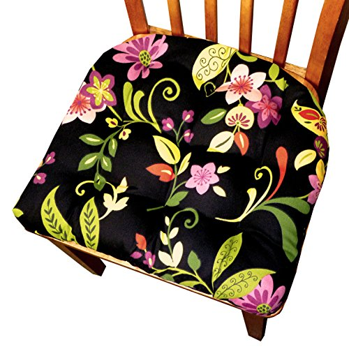 Barnett Patio Chair Cushion - Tessie Black Contemporary Garden Floral - Indoor Outdoor: Mildew Resistant, Fade Resistant - Outdoor Dining Set Chair Pad with Ties - Reversible, Tufted - (Wrought Iron Onyx)