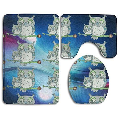 Owl Captain Non-Slip Bathroom Bath Mat Rug Set, 3 Piece Bath Set Pedestal Rug + Lid Toilet Cover + Bath Mat Decoration 3 Sets Perfect For Bath, Tub, And (Captains Pedestal)