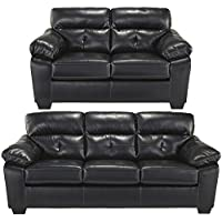 Flash Furniture Benchcraft Bastrop Living Room Set in Midnight DuraBlend