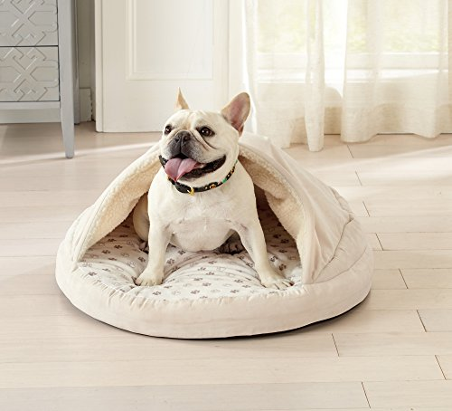 Great Bay Home Round Orthopedic Cuddle Cave Pet Bed for Dogs and Cats. Burrow Bed with Removeable Rod. Pampered Pup (Beige) ()