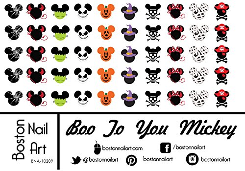 Mickey's Boo To You Halloween - Waterslide Nail Decals - 50pc ()