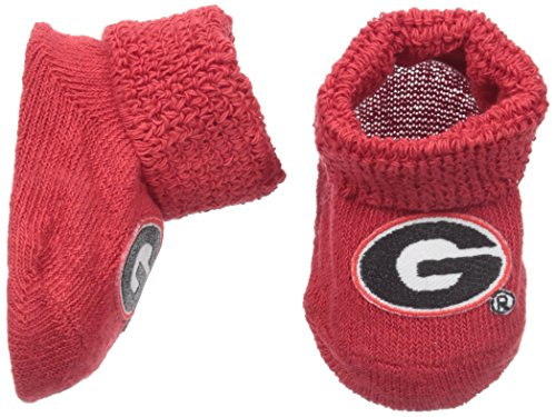 NCAA Georgia Bulldogs Infant Gift Box Booties, One Size, Red