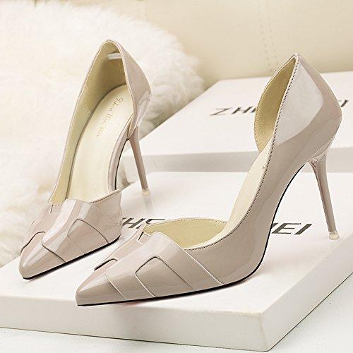 poco bocca di di sottile alto scarpe talloni alti colore con tacco coreana tacchi belle trafitto Versione solido gray profonda awp7Zqx