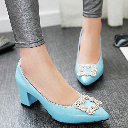 TAOFFEN Femme Elegant Brevet Chaussures A Enfiler Talon Moyen Chaussures Basse blue InLltmtXjG