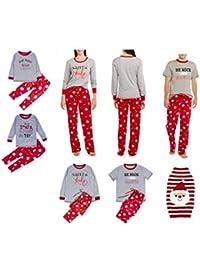 Family Christmas Pajamas Set Santa Long Sleeve Letter Printed Sleepwear Nightwear Parent Child Family Equipment Matching