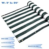 E&K Sunrise 3' x 25' Privacy Fence Screen Mesh for Balcony Porch Deck Outdoor Protection Fencing Shield Net Patio Pool Backyard RailsBalcony-Green/White -200GSM-Customized Sizes Available