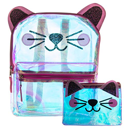 (Glitter Cat Face Backpack Set - Holographic Clear Cat Face Mini Backpack)