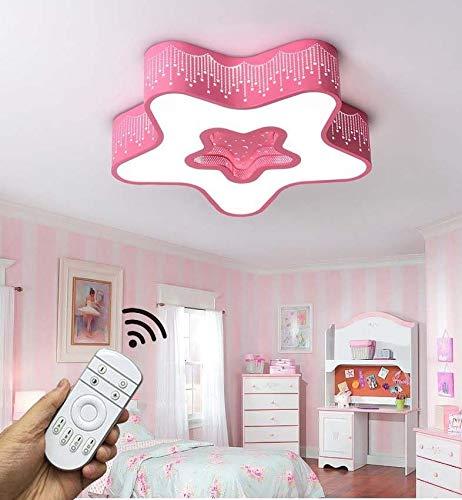 NTS 24W LED Kinderlampe Deckenlampe Kinderzimmer volldimmbar mit Fernbedienung Stern Design Neu Model Pink Pink-Star PS7007C-R45
