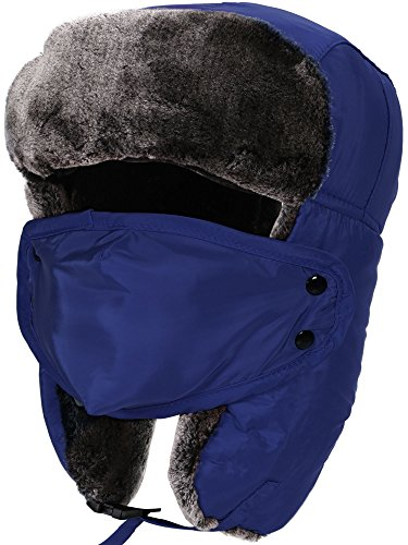 ThunderCloud Men/Women's Winter Faux Fur Trim Full Coverage Trapper Trooper Hat,Blue (Trim Earflap)