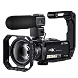 4K Video Camera Camcorder ORDRO HDR-AC7 UHD 4K Camcorder 10x Optical Zoom 3.1'' IPS Digital Wi-Fi Video Recorder 4k Camera with Microphone, Wide Angle Lens and Holder