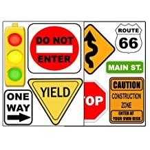 Road Signs Wall Sticker Decal Street Sign Appliques for Kids Rooms
