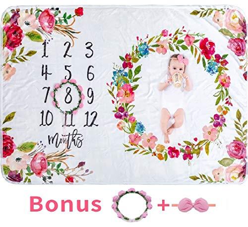 Baby Monthly Milestone Blanket Girl - Large 60''x40'' Floral Plush Fleece Photography Background Prop Newborn Soft Wrinkle-Free Flower Blanket Bonus Wreath Headband
