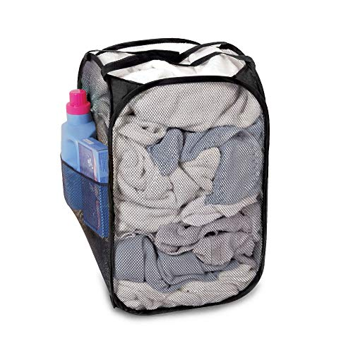 Smart Design Pop-Up Laundry Hamper w/Easy Carry Handles & Side Pocket - Durable Fabric Collapsible Design - for Clothes & Laundry - Home Organization (Holds 2 Loads) (13 x 21 Inch) [Black]