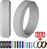 Light Grey Silicone Wedding Ring Band for Him and Her – Size 12 Superior 8mm Rubber Rings – Premium Quality, Style, Safety, Comfort – Ideal Bands for Gym, Safe for Work, Hunting, Sports, and Travels