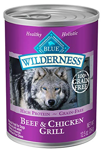 Blue Buffalo Wilderness High Protein Grain Free  Natural Adult Wet Dog Food, Beef & Chicken Grill 12.5-oz can (Pack of 12)