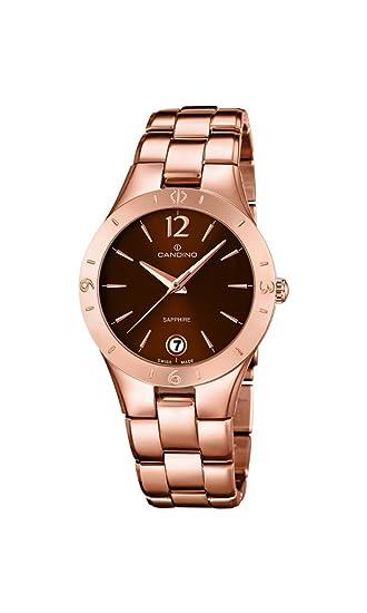 Reloj Infantil de Cuarzo con para Mujer Candino marrón Esfera analógica y Correa de Acero Inoxidable de Oro Rosa y Cristales c4578/2: Amazon.es: Relojes