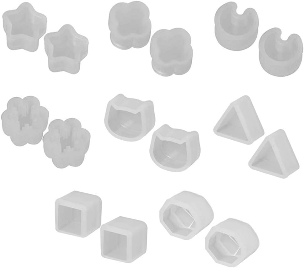 MJiang 8 Pair//Set UV Resin Silicone Small Earrings Stud Molds DIY Crystal Epoxy Mold Making Mould
