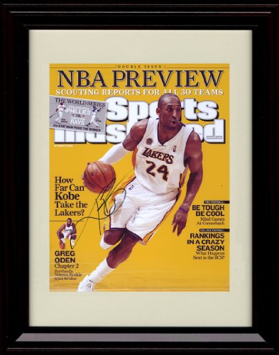 (Framed Kobe Bryant Sports Illustrated Autograph Print - NBA Preview - Los Angeles Lakers)