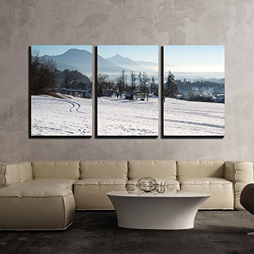 Panoramic View of Scenic Winter Landscape x3 Panels
