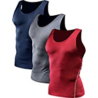Men's 3 Pack Compression Shirts Athletic Dry Fit Tank Top,Grey,Navy Blue,Red,L,EUR XL
