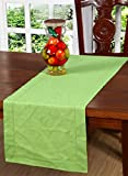 green tabletop - Slub Cotton Table Runner In Lime Green color with Hemstitched Detailing and Mitered corner Finish on edges-100% Cotton by Linen Clubs Size 16x90Inch