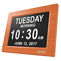 [Newest Version] Day Clock - Extra Large Impaired Vision Digital Clock with Battery Backup & 5 Alarm Options (Brown Wood Color - 2 Pack)