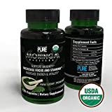USDA Organic Moringa Capsules | 100% Pure Moringa Leaf Powder Green Superfood | Boost Metabolism, Circulation & Energy Levels | Support Healthy Cholesterol, Blood Pressure & Immune System