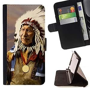 - MAN FEATHERS INDIAN OLD AMERICAN NATIVE - - Prima caja de la PU billetera de cuero con ranuras para tarjetas, efectivo desmontable correa para l Funny HouseFOR Samsung Galaxy Note 4 IV