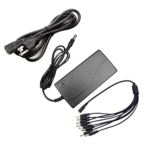 Antoble DC 12V 5A Power Supply AC Adapter + 8 Split Power Cable Cord for CCTV Security Camera DVR Surveillance System (Heavy Power Supply Duty)