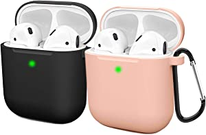 Compatible AirPods Case Cover Silicone Protective Skin for Apple Airpod Case 2&1 (2 Pack) Black/Sand Pink
