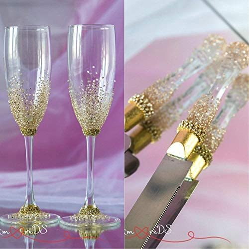 Gold Wedding Set Cake Server Set Rose Gold Personalized Champagne Flutes Cake Servers Engraved Cake Server and Knife Crystal Wedding Glasses