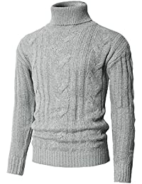 Mens Casual Long Sleeve Twisted Knitted Turtleneck Pullover Sweaters
