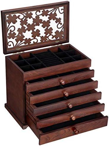 SONGMICS Caja de Madera para Joyas con Tallas Florales, Caja Joyero de 6 Niveles con 5 Cajones Extraíbles, Regalo para los Seres Queridos, Marrón Oscuro JBC56W: Amazon.es: Juguetes y juegos
