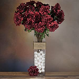 Tableclothsfactory 4 Bushes California Zinnia Artificial Wedding Craft Flowers - Burgundy 20
