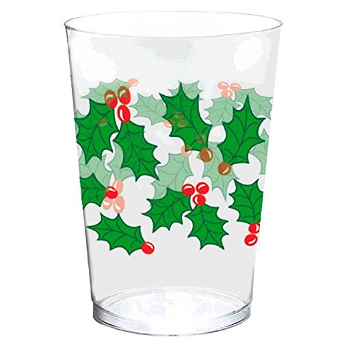 Amscan 40 Count Holly Tumblers Plastic Cup, 10 oz, Multicolor
