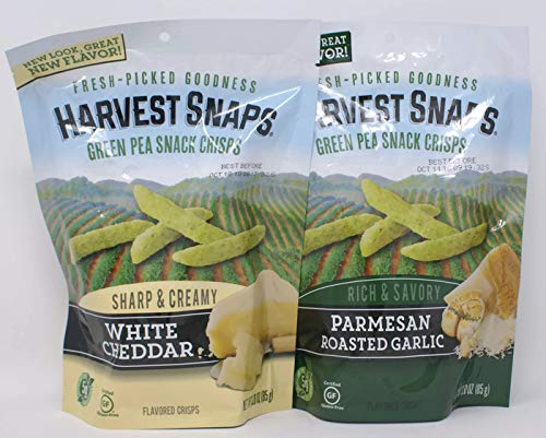 Variety Pack - Harvest Snaps Green Pea Snack Crisps (3.0 Oz) - Sharp & Creamy White Cheddar, Rich & Savory Parmesan Roasted Garlic ()