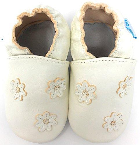 MiniFeet Premium Weich Leder Babyschuhe - Verschiedene Stile - Jungen und Mädchen Babyschuhe - Neugeborene bis 3-4 Jahre Creme Blumen