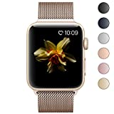 Lelong Apple Watch Band,Milanese Loop Fully Magnetic Clasp Stainless Steel Mesh iWatch Band for Apple Watch Series 3 Series 2 Series 1 Sport & Edition- 42mm Gold